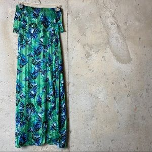 Banana republic green tropical strapless dress